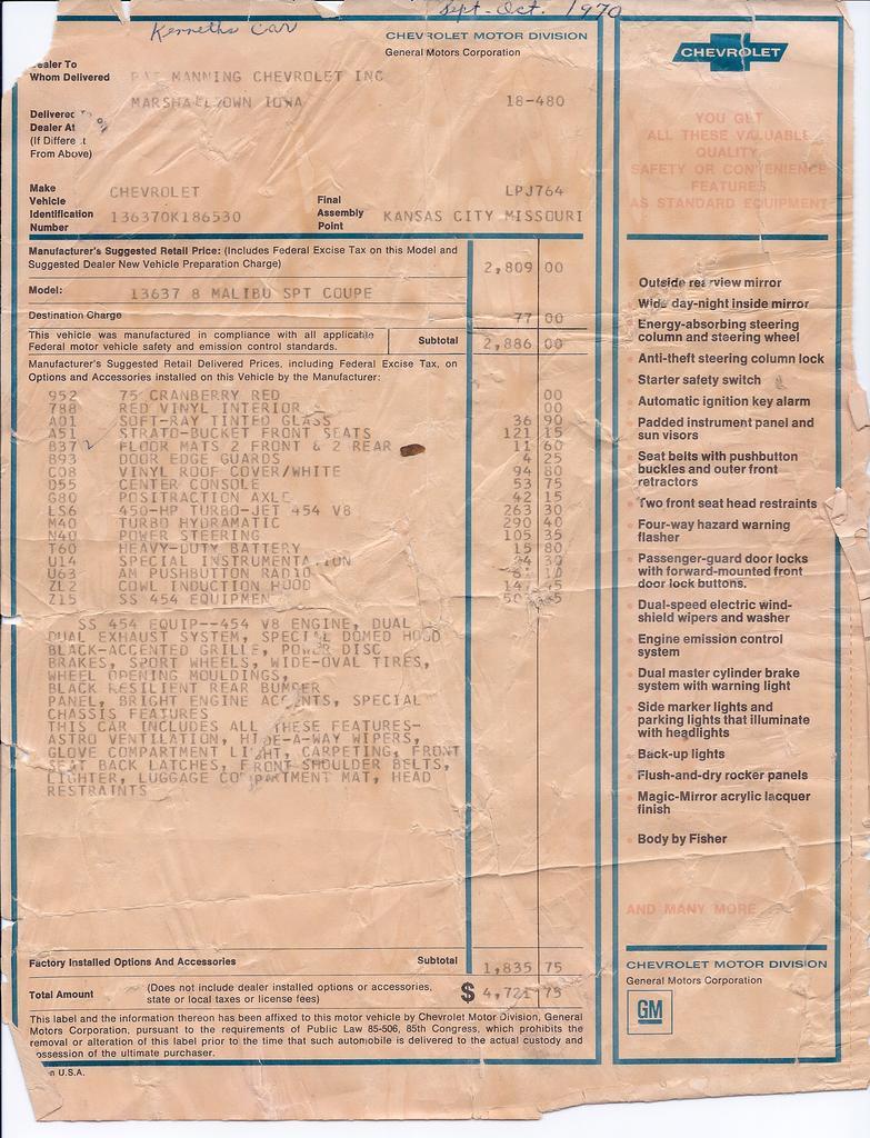 1969 Copo Registry Autos Weblog