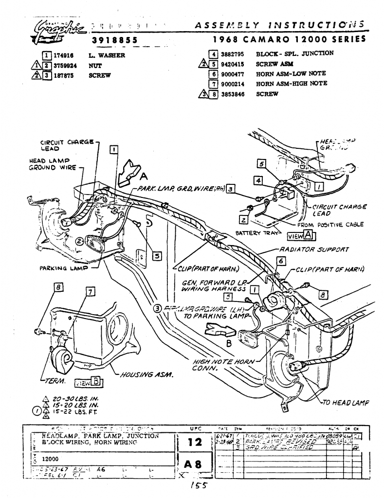 1968 Camaro Horn Diagram Starting Know About Wiring Circuit Mounting Location 68 Standard The Supercar Registry Rh Yenko Net Relay